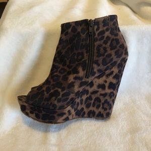 Chinese Laundry Leopard Wedge Peep Toe Booties 7